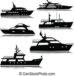 jachtboten, vector, silhouettes