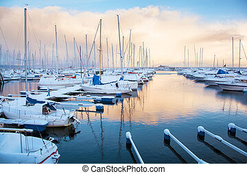 jachthaven, trondheim, winter, aanzicht