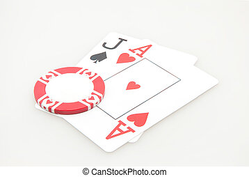 Jack and ace blackjack hand cards w