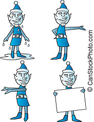 Four images of the winter character Jack Frost in various poses.