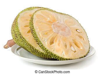 Jack-Fruit sliced isolated on white background