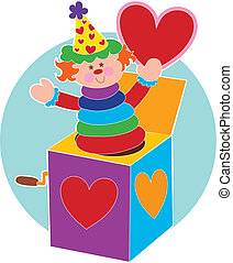 Jack in a Box and He - Jack in a Box holding a red heart