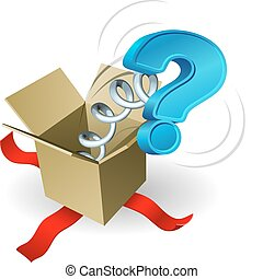 A question mark springing out of a box conceptual illustration.