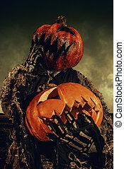 Jack-lantern with pumpkin