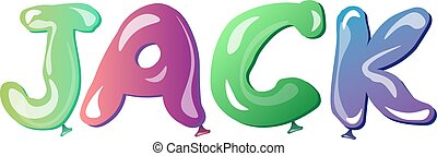 Jack male name text balloons. Vector illustration