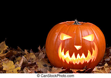 Jack-o-Lantern - A brightly colored, Halloween-themed carved...