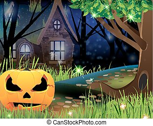 Jack O Lantern and abandoned house