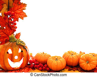 Jack-o-lantern border - Border with jack-o-lantern and fall...
