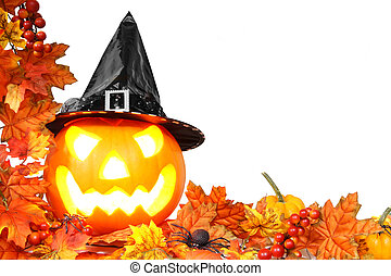 Jack-o-lantern border - Halloween Jack o Lantern with autumn...