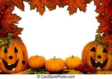 Jack-o-lantern border - Halloween border over white with...