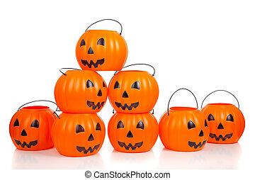 Jack-o-lantern buckets stacked up