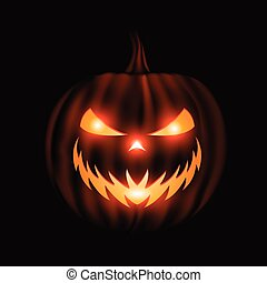 Jack o lantern face halloween background isolated on black