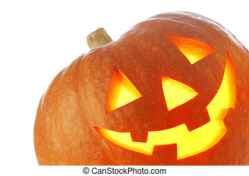 Jack O Lantern halloween pumpkin with candle light inside isolated on white background