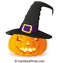 Jack-O-Lantern. Halloween pumpkin with witches hat isolated on w