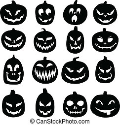A set of 16 hand drawn jack o lantern silhouettes.