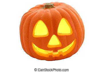 a halloween jack-o-lantern pumpkin isolated.
