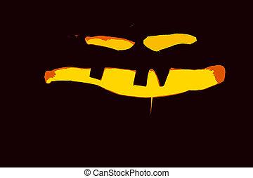 jack-o lantern on black