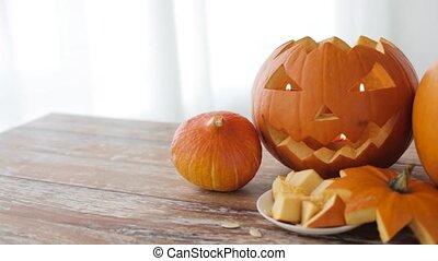 jack-o-lantern or carved halloween pumpkins - halloween,...