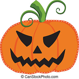 Jack o lantern or carved pumpkin isolated - jack o lantern...