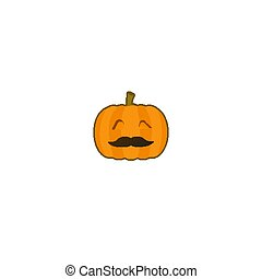 Jack o lantern orange pumpkin sticker isolated on white background