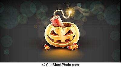 Jack-o-lantern pumpkin head with grimace and dynamite