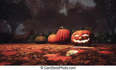 Jack-o-lantern pumpkin in autumn forest close up - Close up...