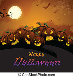 Jack-o-lantern Pumpkin in Halloween night - illustration of ...