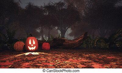 Jack-o-lantern pumpkin in spooky forest at dusk -...