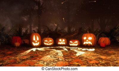 Jack-o-lantern pumpkins and magic lights at night - Close up...
