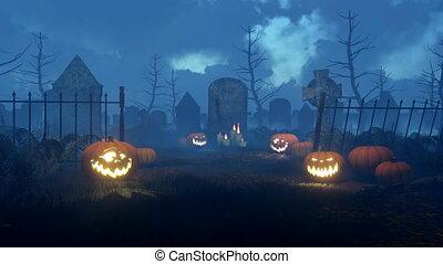 Jack-o-lantern pumpkins at night cemetery 4K -...