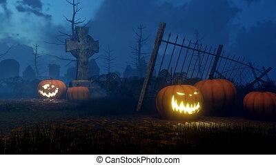 Jack-o-lantern pumpkins at night graveyard 4K - Abandoned...
