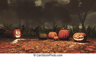 Jack-o-lantern pumpkins in autumn forest at dusk -...