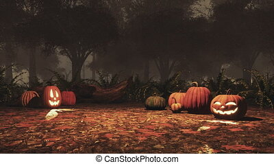 Jack-o-lantern pumpkins in autumn forest at night -...