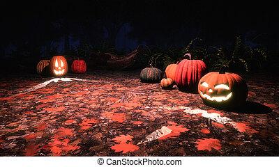 Jack-o-lantern pumpkins in autumn forest at night -...