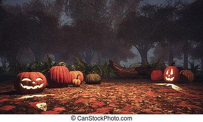 Jack-o-lantern pumpkins in misty forest at dusk -...