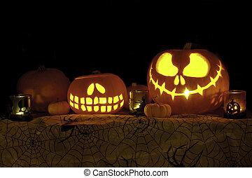 Jack o Lantern Pumpkins on Cobweb F