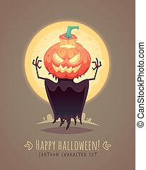 Jack o lantern. Scarecrow pumpkin. Halloween cartoon character concept. Vector illustration.