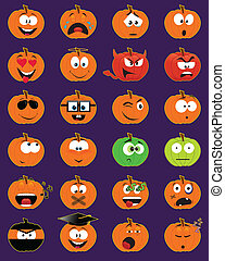 Set of 24 pumpkin-shaped smiley faces - vector illustrations
