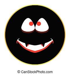 Jack O Lantern Smiley Face Button Isolated