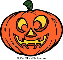 Jack-O-Lantern Smiling - A cartoon illustration of a Jack-O-...