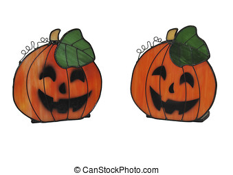 Jack o lantern glass adornments isolated over white