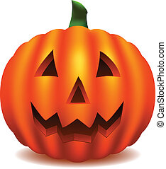 Jack O' Lantern - Isolated pumpkin carved with traditional...