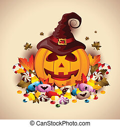 Jack O' Lantern with Candies - Jack O' Lantern with lots of...