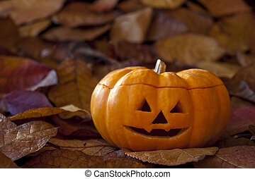 Jack-o-Lantern with Leaves