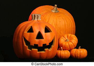 jack o lantern with - seasonal harvest of squash and a...
