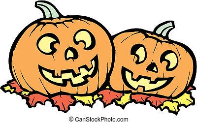 Jack-o-Lanterns - Two orange Jack-o-Lanterns lit up for...