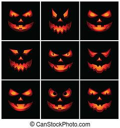 Jack O Lanterns Faces - Vector set of nine Jack O'Lanterns...