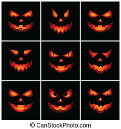 Vector set of nine Jack O'Lanterns with scary facial expression, isolated on black.