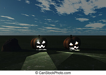 Jack O Lanterns - Halloween concept highlighted by eerie...