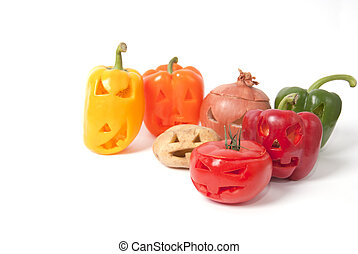 Jack-o-Lanterns made out of Fruit and vegetables